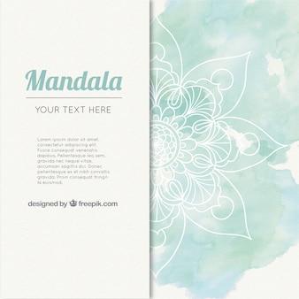 Watercolor mandala background in green tones