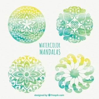 Watercolor mandala collection in green colors