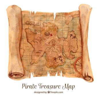 Watercolor map of treasure
