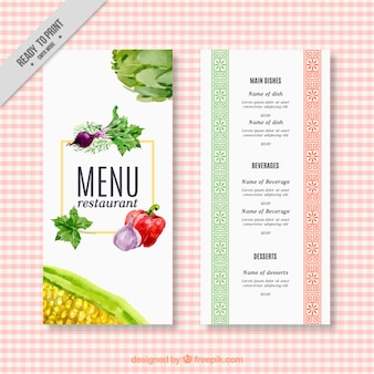 Watercolor menu restaurant