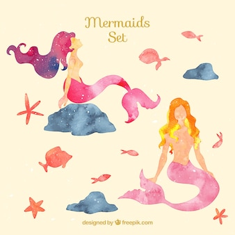 Watercolor mermaids and fishes