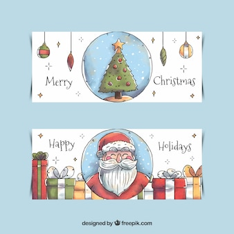 Watercolor merry christmas banners