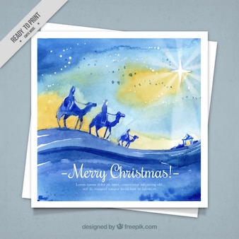 Watercolor merry christmas card with wise men