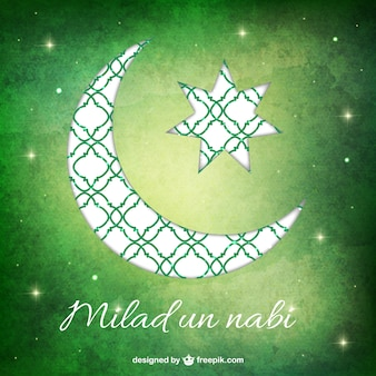 Watercolor Milad un nabi background with a moon
