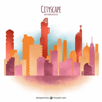 Watercolor modern cityscape background