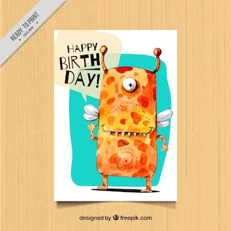 Watercolor monster birthday card