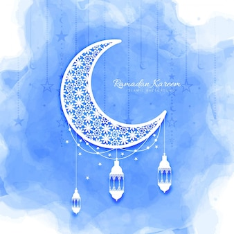 Watercolor moon design for ramadan kareem