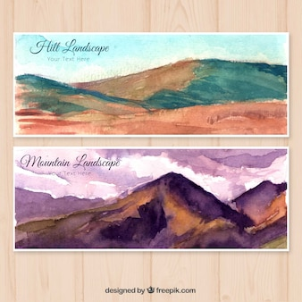 Watercolor mountains banners