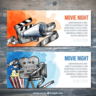 Watercolor movie tickets set