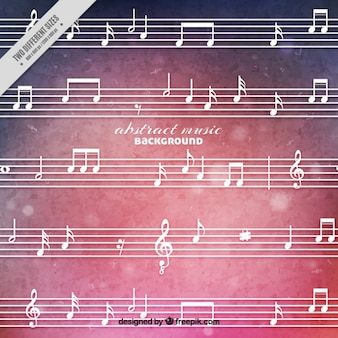 Watercolor music background in pink tones