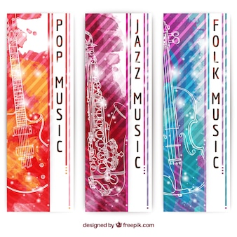 Watercolor music banners