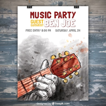 Watercolor music party poster with man playing the guitar