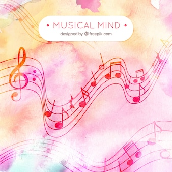 Watercolor musical mind background