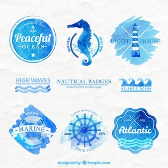 Watercolor nautical badges