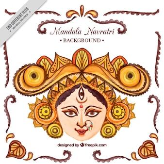 Watercolor navratri ornamental background