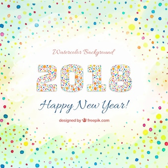 Watercolor new year 2018 background with circles
