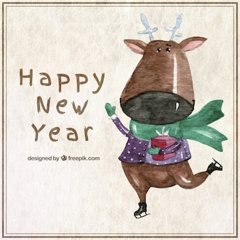 Watercolor new year card with a reindeer