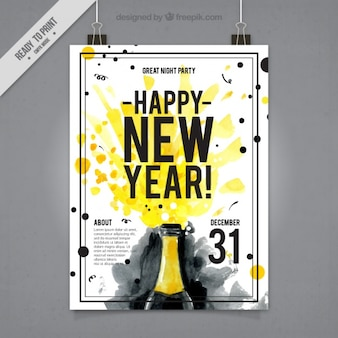Watercolor new year's party poster