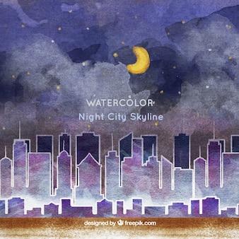 Акварель ночной город фон