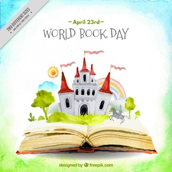 Watercolor open book with a castle background