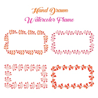 水彩オレンジとピンクの花柄の長方形フレーム