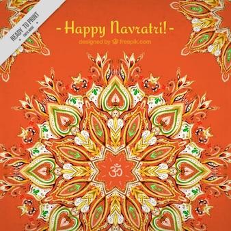 Watercolor ornamental background of happy navratri
