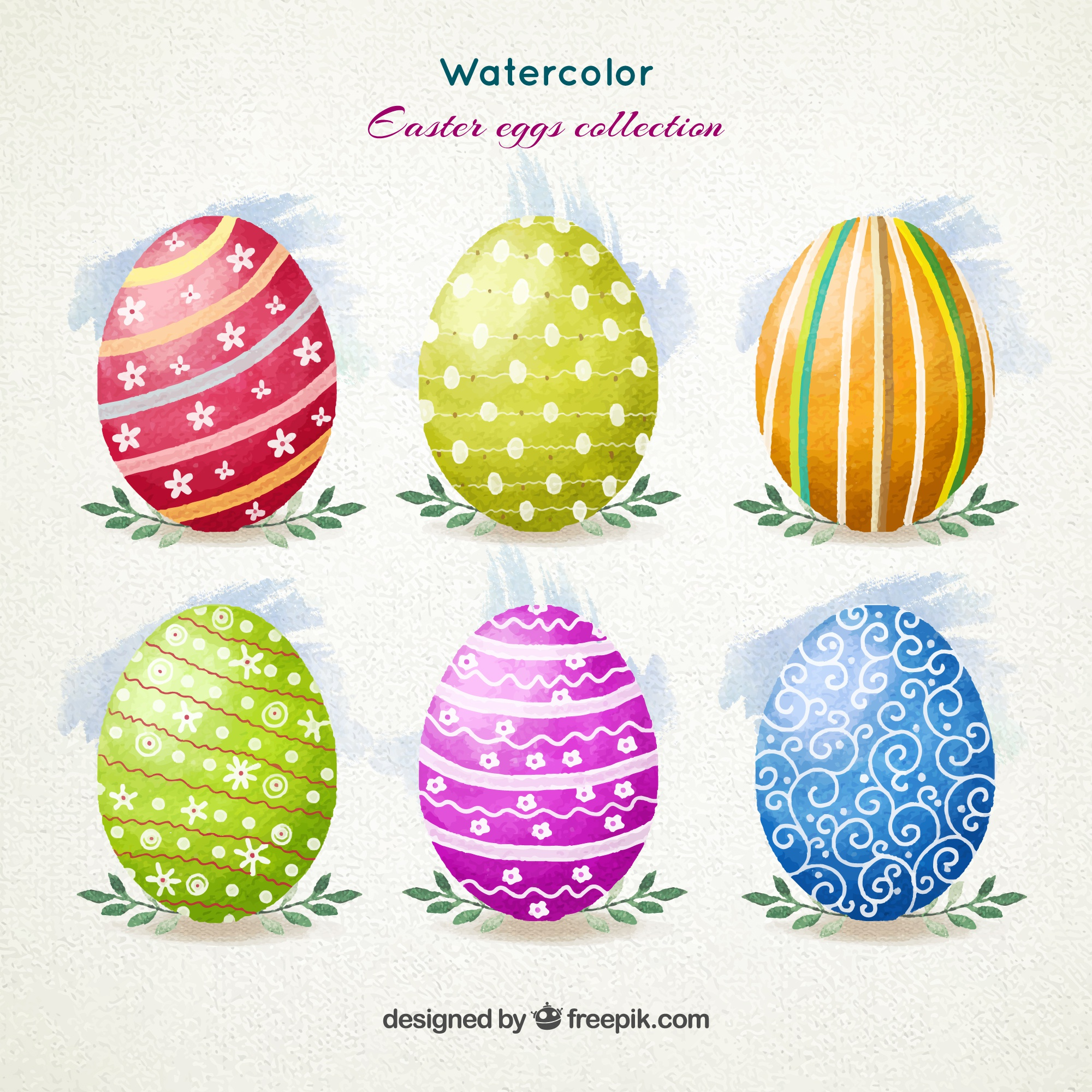 Watercolor ornamental Easter eggs