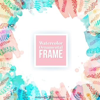 Watercolor ornamental frame