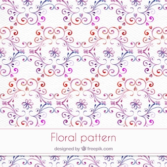Watercolor ornamental pattern with floral details