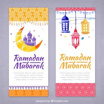 Watercolor ornamental ramadan banners