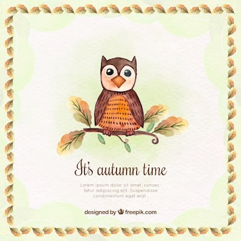 Watercolor owl background with decorative frame