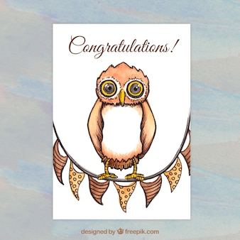 Watercolor owl greeting card template