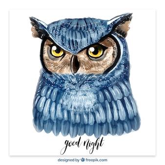 Watercolor owl illustration