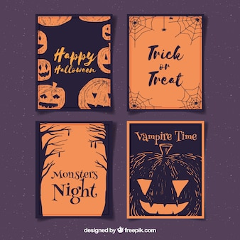 Watercolor pack of halloween cards