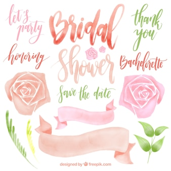 Watercolor pack of pretty wedding elements