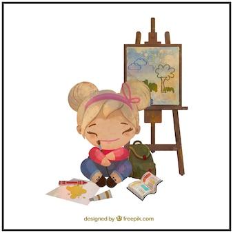 Watercolor painter little girl
