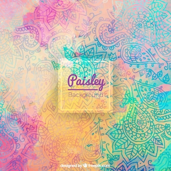 Watercolor paisley background