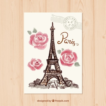 Watercolor Paris Postcard