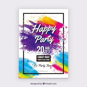 Watercolor party poster with colorful style