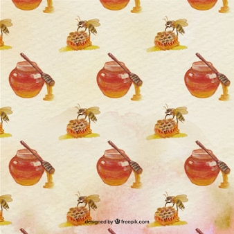 Watercolor pattern of honey with bee