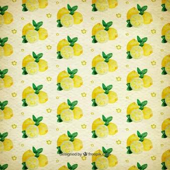 Watercolor pattern of lemons
