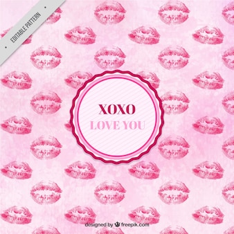 Watercolor pattern of love with kisses