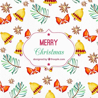 Watercolor pattern with christmas elements