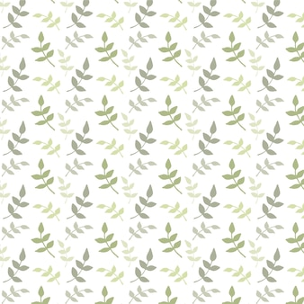 Watercolor pattern with green leaves