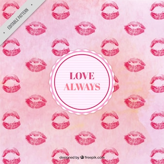 Watercolor pattern with kisses