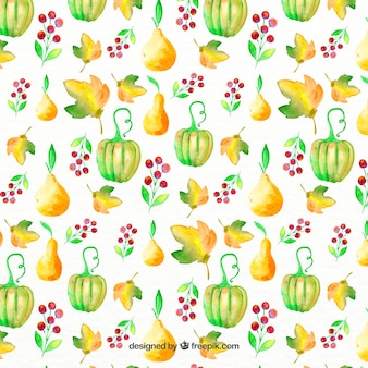 Watercolor pattern with pears and green pumpkins