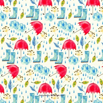 Watercolor pattern with umbrellas and rain boots