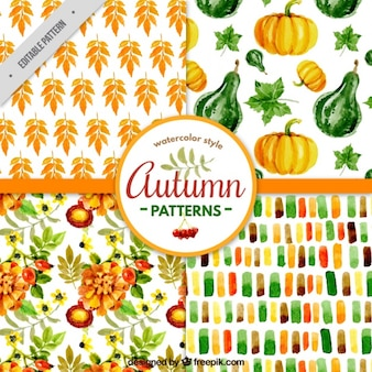 Watercolor patterns for autumn