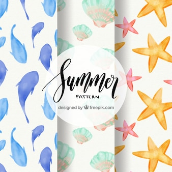 Watercolor patterns with marine elements