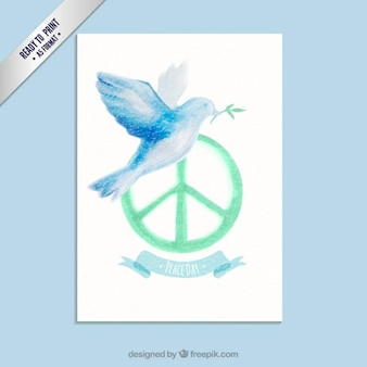 Watercolor peace day card with a pigeon
